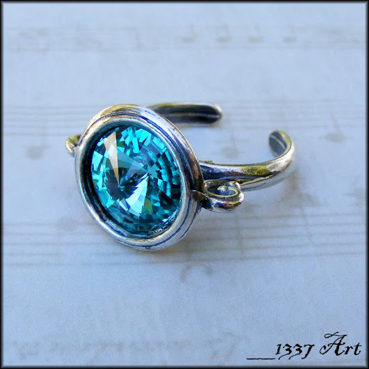 Light Turquoise Crystal Ring Adjustable from Size 6 to Plus Size by 1337art on Zibbet