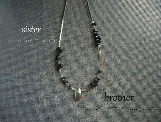 SISTER BROTHER morse code necklace custom name christmas