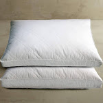 233 TC Cambric Cotton Diamond Quilted Feather/Down Jumbo Pillow 2-Pk White