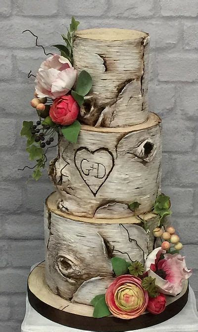Silver birch wedding cake with hand made sugar flowers