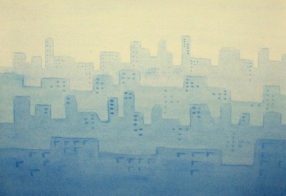 Blue City. Original Watercolor Painting.
