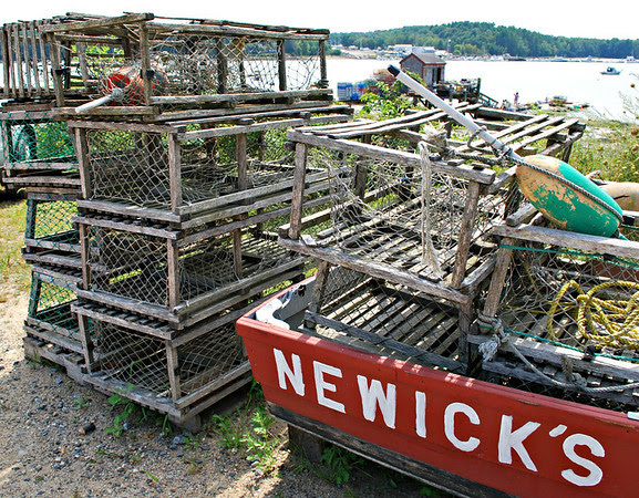 Lobster traps and a dinghy.