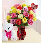 Flower Delivery by 1-800 Flowers Two Dozen Assorted Valentine's Day Roses with Red Vase, Bear & Balloon
