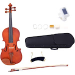 Glarry 3/4 Antique Solid Wood Matt Violin for Beginners + Case + Bow + Rosin + Strings + Shoulder Rest + Tuner