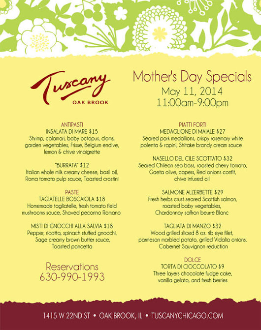 Mother's Day Specials at Tuscany Oak Brook - Phil Stefani Signature Restaurants