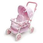 Badger Basket Gingham Double Front-To-Back Doll Stroller, Pink