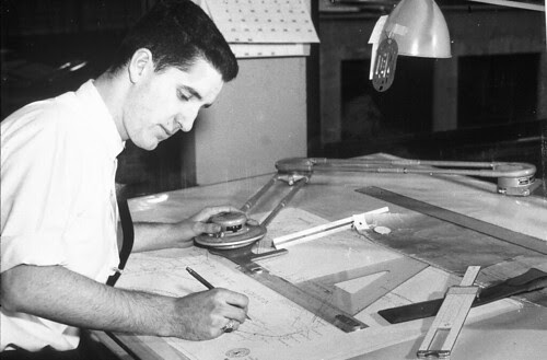 Engineer working on plans for Lake Union area, circa 1960s