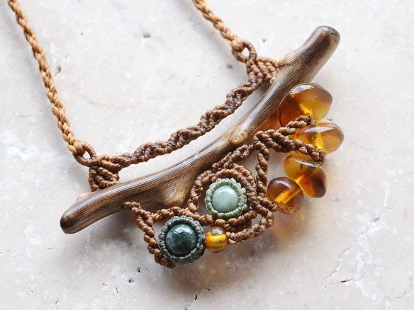 Fossil Coral x Jade x Amber Pendant