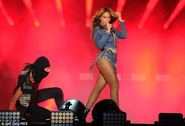Legs for days: Beyonce showed off her fabulous legs in a pair of Daisy Dukes