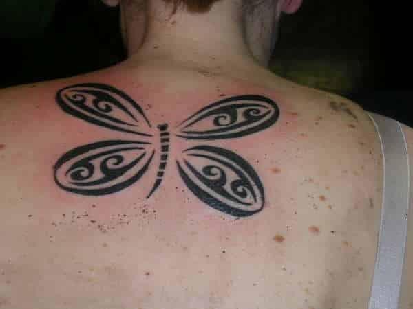Tribal Dragonfly Tattoo On Upper Back Tattoo Bytes