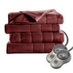 Sunbeam Heated Fleece Electric Blanket Quilted King Garnet Red