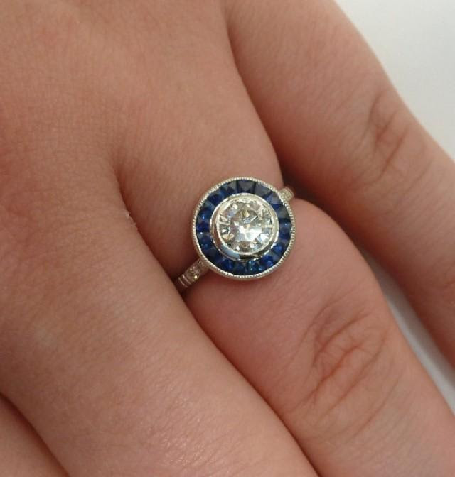 Sale Art Deco Style Sapphire And Diamond Target Ring In Platinum 2667330 Weddbook