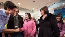 Trudeau greets refugees