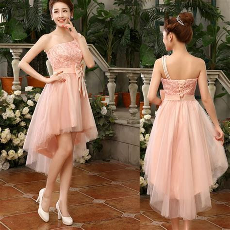One Shoulder High Low Pink Bridesmaid Dress With Bow