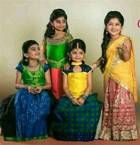 Girls in south indian traditional langas     Kids In