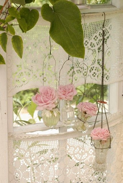 Lace doily curtains