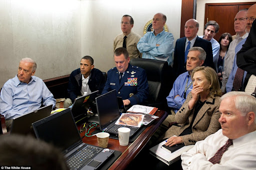 Intense: President Obama, Vice President Joe Biden and Secretary of State Hillary Clinton, alongside other Security staff, watch the mission unfold at the White House