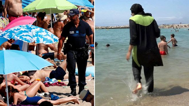 Police on beach in Cannes and a woman in a burkini on a French beach