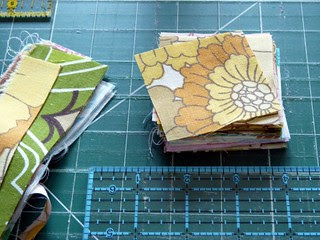 "2.5"" squares cut from left over scraps"