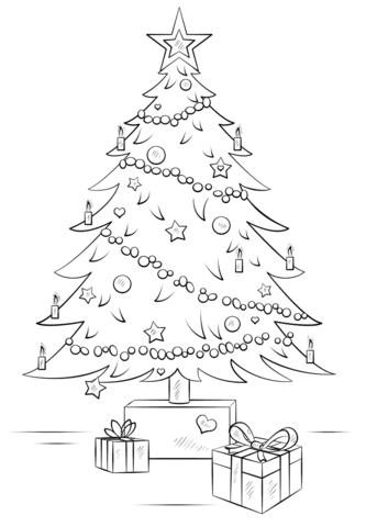 Disegno Di Albero Di Natale Con Regali Da Colorare Disegni Da