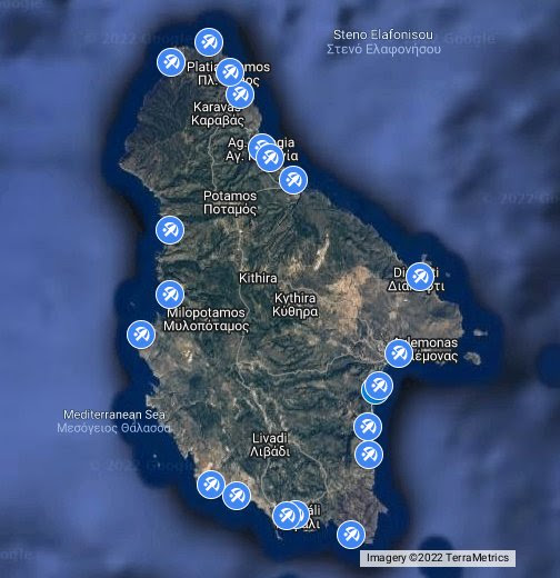 Location map Beaches Kythira Greece