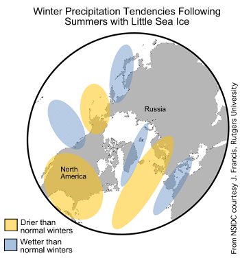map showing areas of above and below-average precipitation following low sea ice years