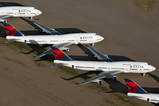 Photo of the Day: Delta Air Lines Boeing 747-400s in storage at Marana, AZ