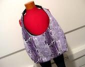 Purple Snakeskin Print Jersey with Upcycled Black and White Belt Strap Hobo Rakc