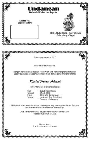 Undangan Aqiqah Dan Khitanan : undangan, aqiqah, khitanan, Contoh, Layout, Undangan, Walimatul, Khitan