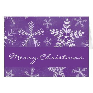 Purple and White Snowflake Pattern Christmas Xmas Cards