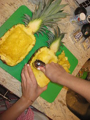 scoop out pineapple