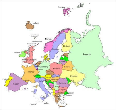 Europe Map - Editable Vector Illustrator, WMF and PDF