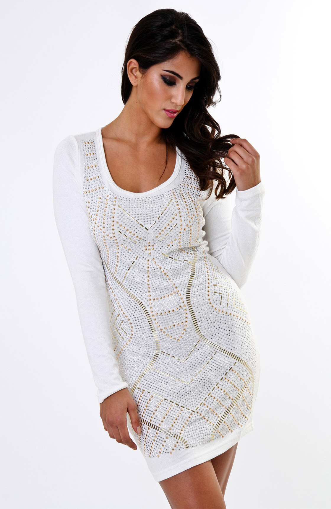 Bodycon sleeve wedding white dress long