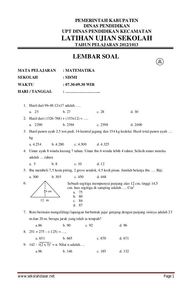 Contoh Soal Matematika Un Kls 6 2016  contoh soal ujian nasional 2016 ipa sd, download bank