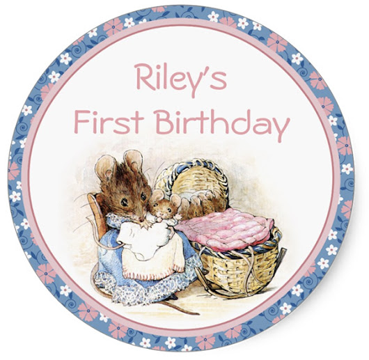 Beatrix Potter Mother Mouse Custom First Birthday Party Stickers