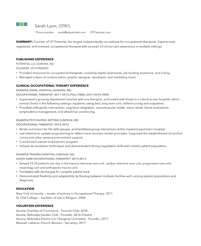 Pediatric Occupational Therapy Treatment Plan Template