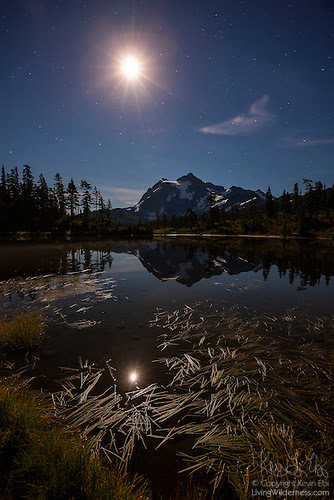 Midnight, Mount Shuksan and Moon, North Cascades, Washington