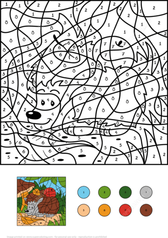hedgehog with two apples colornumber  free printable coloring pages