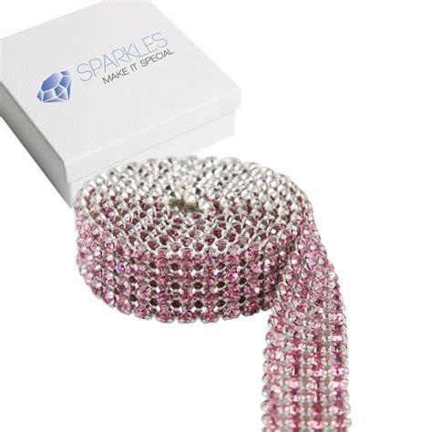 Premium PINK 4 Row Crystal Rhinestone Ribbon/Wedding Cake