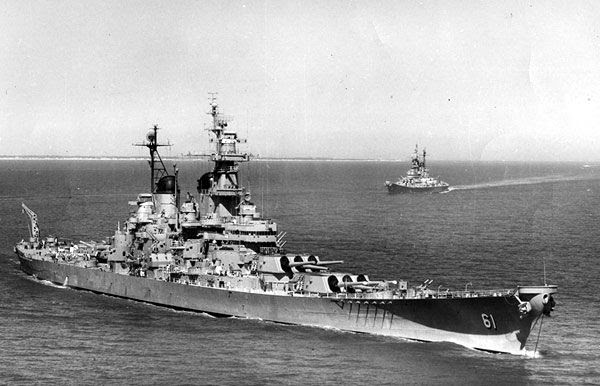 A Korean War-era photo of the USS Iowa and her sister ship USS New Jersey (background) sailing in the Atlantic.