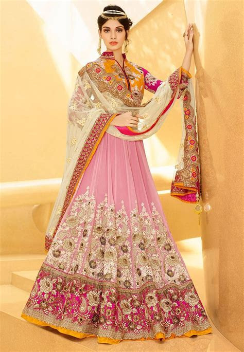 Light Old Rose Net Lehenga Choli with Dupatta   Fancy
