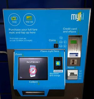 The new Williams Landing train station near Point Cook. Out of order Myki machine. 28 April 2013. The Age NEWS. Photo:EDDIE JIM.
