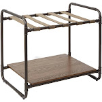 Anderson Convertible Industrial Luggage Rack Table with Pipe Fittings gunmetal with walnut