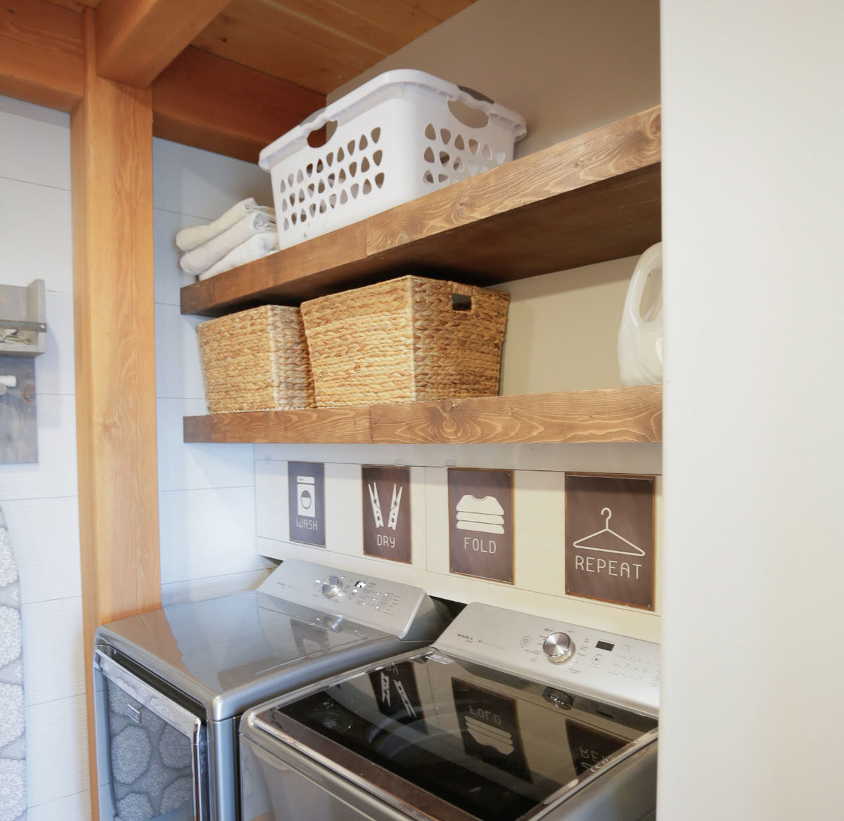 Floating Shelves Pull Out Drying Racks and Hanging Rods  Ana White
