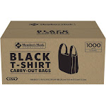 Member's Mark Black T-Shirt Carryout Bags (1,000 ct.)