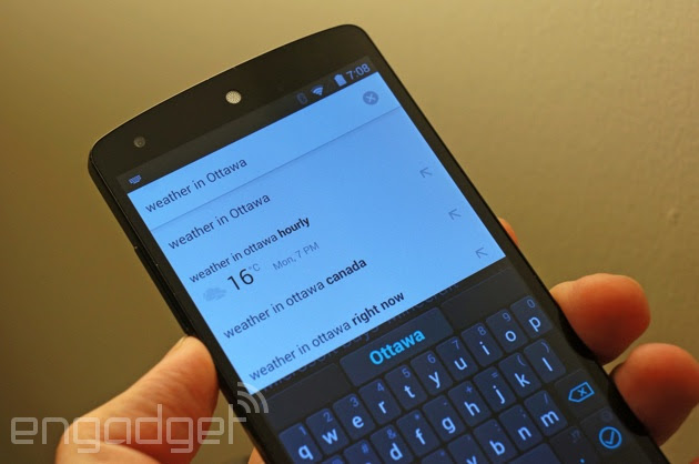 Chrome for Android shows the weather in auto-complete suggestions