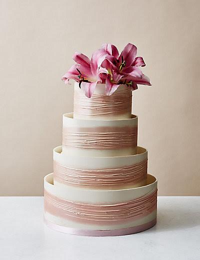 Shimmering Hoop Chocolate Wedding Cake (White & Pink ...