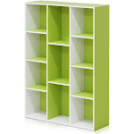 Furinno 11107WH-GR 11-Cube Reversible Open Shelf Bookcase White & Green