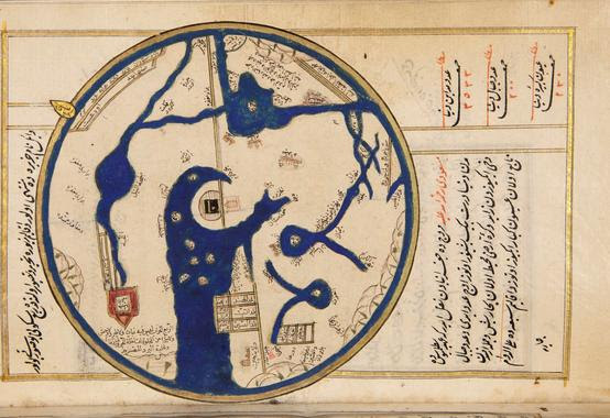 antique map of Mecca as the center of the world