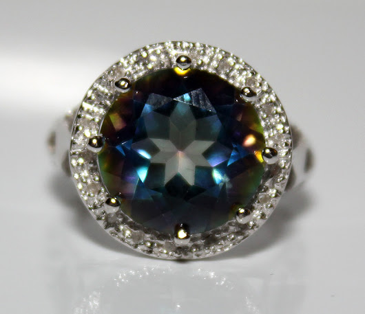 Gorgeous Brand New 5.91ctw Ocean Mystic Gemstone & Natural Diamonds Platinum Over .925 Silver Ring